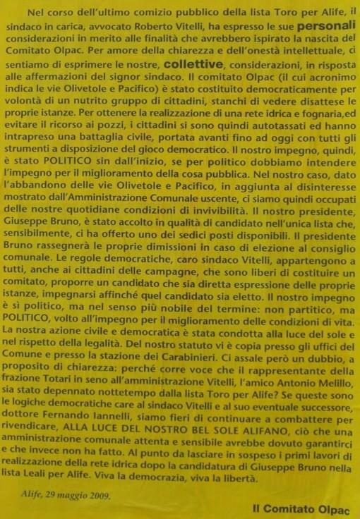 Comitato Olpac risponde a Vitelli