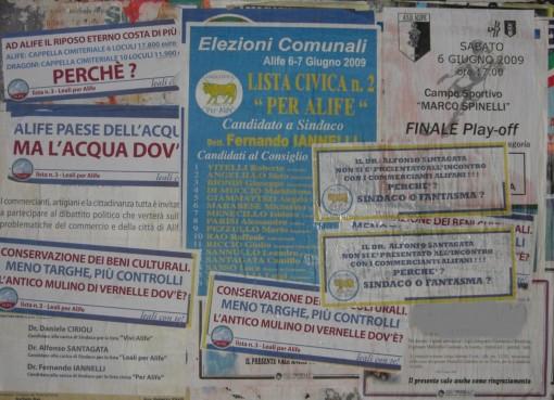 Manifesti elettorali Alife delirio politica