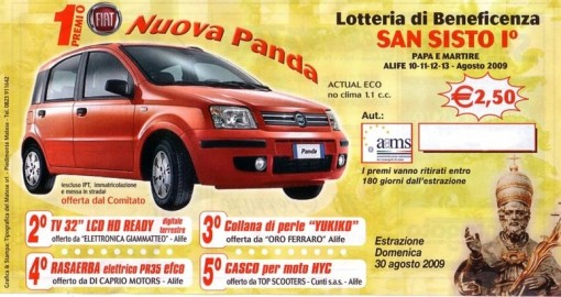 Lotteria San Sisto Alife(anno 2009) Fiat panda 1 premio
