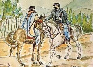 Teano, litografia sull'incontro fra Garibaldi e Vittorio Emanuele II
