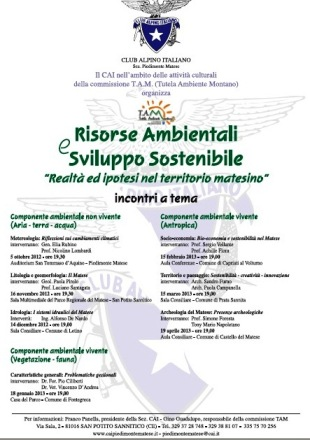 """S. Potito Sannitico(Ce)- Il Cai organizza il 16 Novembre convegno su Risorse Ambientali e Sviluppo Sostenibile """"Realtà ed ipotesi nel territorio matesino"""", litologia e geomorfologia"""