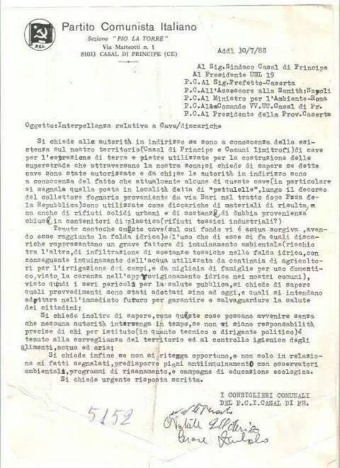 denuncia del pci casal di principe stato camorra e rifiuti anno 1988