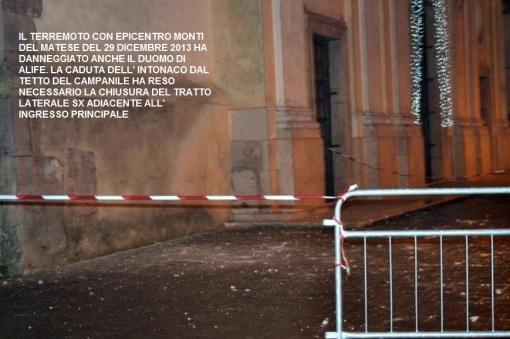 foto terremoto alife transenna cattedrale