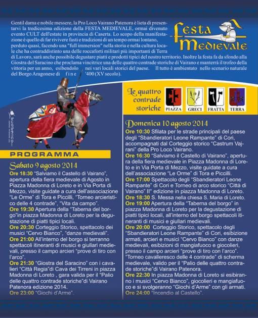 programma festa medievale