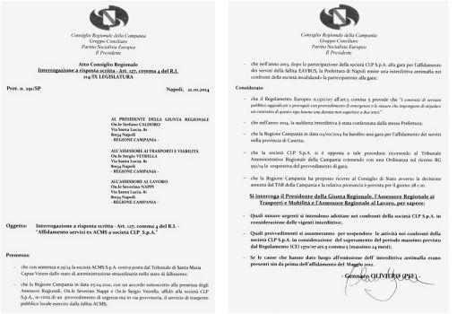 INTERROGAZIONE A RISPOSTA SCRITTA OLIVIERO 21 OTT 2014
