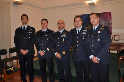 da sinistra il sergente Vivenzio insieme agli altri premiati dell'Aeronautica Militare